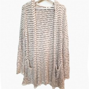 Anthropologie Striped Hooded Cardigan